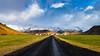 The Farm By The Mountains (BoXed_FisH) Tags: eyjafjallajökull sony1635mmvariotessartfef4zaoss sonyzeiss1635f4oss iceland landscape sel1635z sony sonya7 sonyzeiss travel volcano wideangle southernregion is bluesky wide road leadinglines grass