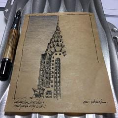 An Art Deco Icon (schunky_monkey) Tags: penandink ink pen fountainpen drawing draw sketching sketch illustrator illustration artist art icon building architecture skyscraper artdeco newyorkcity newyork chryslerbuilding