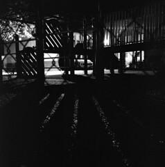 112217-0430 (Immane) Tags: yashicamat124g twinlensreflex tlr mediumformat 6x6 120 film bw analog blackandwhite monochrome trix 400tx d76 roll144 night longexposure bulb playground burbank losangeles fence