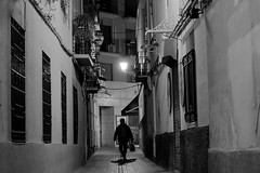 Fear of the dark (Daniel Nebreda Lucea) Tags: street calle night noche city ciudad alley callejon man hombre silueta silhouette walking andando monochrome monocromatico black white blanco negro light luz lights luces shadows sombras urban urbano old antigua vieja silence silencio alone solo fear miedo dark oscuro darkness oscuridad architecture arquitectura building edificio casa house noir contrast contraste zaragoza aragon canon 60d 50mm perspective perspectiva composition composicion people gente atmosphere atmosfera long exposure exposicion nocturna grey texture textura walk andar lines shapes bwartaward