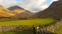 Wasdale Head and Great Gable (mandysp8) Tags: mountains sunlight sheep uk cumbria wasdale greatgable thelakedistrict fields