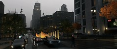 Chicago traffic (Brandon ProjectZ) Tags: watchdogs chicago rain windy overcast buildings fall traffic cars roads sky natural lighting trees fog