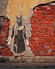 Never Fade Away (Luv Duck - Thanks for 13M Views!) Tags: wall brick background urban grunge old plaster poster white sidewalk stone room pavement road interior red paint floor light abandoned tile graphic blank bright retro design whiteboard building board exterior grain blocks apartment gray concrete grey illustration backdrop texture scratch grungy architecture classic house antique vintage agedwall construction structure facade russianfederation sarahohlsson mardigrasmask mask stencil blackdress neworleans