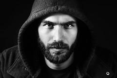 Arjan (Erik de Klerck) Tags: portrait male lowkey black blackandwhite blackbackground strobist flash studio beard nikon d800 85mm hoodie arjan