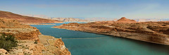 The Colorado River flowing through the desert of Arizona (Gail K E) Tags: coloradoriver glencanyon arizona usa sandstonecliffs lakepowell desert landscape panorama scenic water