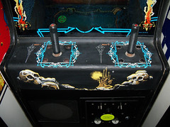 Warrior (scottamus) Tags: classic arcade video game cabinet controls control panel art artwork graphics design joystick warrior cinematronics 1979