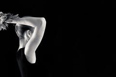 Haare - Hair (~shrewd~) Tags: woman frau weiblich female portrait home curtain schwarz weiss bw black white sw strobist homeshooting homestudio onlocation explore explored schwarzweiss blackwhite blanc noir blancnoir bn zwart wit zwartwit