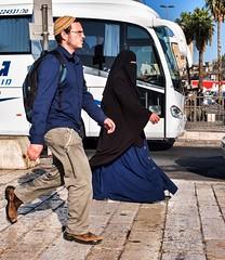 walking side by side. (Monica@Boston) Tags: magicmoment bus outdoors jerusalem street people walking road travel culture