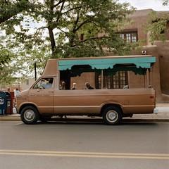 Tour Van - Santa Fe, NM 2016 (jwbeatty) Tags: 120 6x6 analog automobile carlzeissplanart80mmf28 film filmisnotdead hasselblad500cm ishootfilm kodak mediumformat newmexico photoaday portra160 project365 santafe street tourvan van