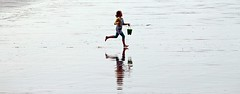 Fetching Water - Sidmouth, Devon - 2017 (Dis da fi we) Tags: fetching water sidmouth devon girl bucket shorts reflection beach run
