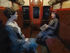 The Travelling Ladies (Steve Taylor (Photography)) Tags: train carriage newspaper hat rack gloves perm art digital painting smile smiling ladies women uk gb england greatbritain unitedkingdom london texture londontransportmuseum scarf skirt travel