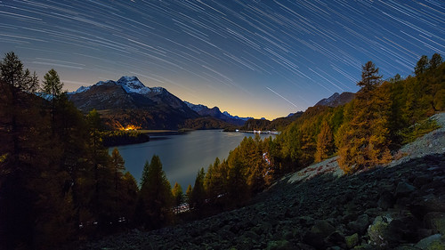 Via Engiadina star trails and moonlight