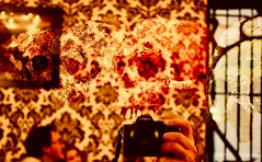 """Human skull symbolism...The Skull & Cross Selfie...""""The Skull and cross bones are a continual reminder that the spiritual nature obtains liberation only after the philosophical death of man's sensuous personality."""" (bernawy hugues kossi huo) Tags: metamorphosis lens carlzeiss carljung selfie bar city forbidden pastor look skeleton anamorphic wallpaper recognize réconciliation halloween sony skull mirror american college fraternities sororities secret societies symbolic sorcerer"""
