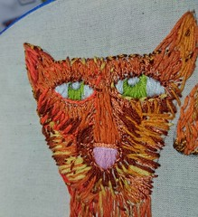 Hand stitched cat in progress  copyright sharron wilcock (sharronwilcock1) Tags: cat textile handmade sewing stitching drawing pussy puss moggy craft work making artist fiber google pinterest creative animal design thread needle maker yarn hoop bobbin home made embroidery embroider pet love hobby happiness embellishment embellish cloth fabric
