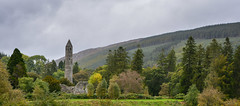 The grey tree (andyscho2004) Tags: glendalough wicklow ireland ie heritage ruin landscape panorama trees tower stone cloud vertical nikon d7100