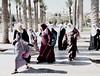 A group of Muslim women on the street in Jerusalem. (Monica@Boston) Tags: travel street people israel jerusalem city women muslim trees