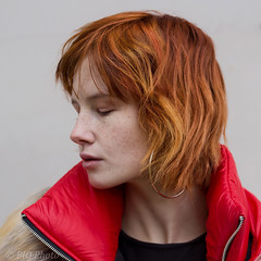 No makup (piotr_szymanek) Tags: natalia portrait outdoor woman redhead redjacket earring freckles closedeyes fur black clackblouse face young fashion 5k 10k 20k 50f 1k 30k 20f