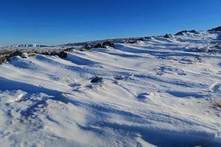 Drifting snow on the Fairfield Horseshoe, Lake District.
