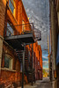 Down in the Alley (tquist24) Tags: goshen hdr indiana nikon nikond5300 alley architecture bricks building city cityscape clouds downtown geotagged goldenhour sky stairs street urban window windows unitedstates