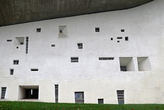 Side wall of Notre-Dame-du-Haut chapel in Ronchamp by Le Corbusier (1953-1955)