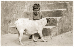 Me - 25 November 1967 (kurjuz) Tags: 25november1967 gharlapsi malta blackandwhite dog me steps