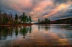 Another-Colorful-Sunrise (desouto) Tags: nature lake sky trees autumn reflections colors leaves sunrise painterly
