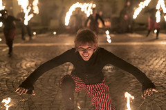 (maxlaurenzi) Tags: fire blow spit artists buskers italy winter negrar verona flame light hot power cloth coat sunglasses dramatic contrast