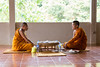 Monks at breakfast (Tiziana de Martino) Tags: monks people thai thailand breakfast sittin orange dress