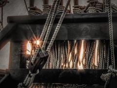 Sail Into the Sun (clarkcg photography) Tags: pinta sail ship vessel columbus replica ropes tackle blocks pulleys texture sun sunset evening sunlight sunburst sunflare deck texturaltuesday saturatedsaturday