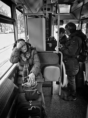 One day in Munich (Timo Kozlowski) Tags: bavaria bayern münchen munich street streetogs huaweip9 monochrome snapseed mvg publictransportation bus