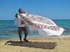Esposizione al vento. (sangiopanza2000) Tags: venditore seller telo vento sangiopanza mare sea spiaggia beach sabbia sand wind