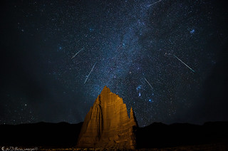 Geminids over Temple of the Moon