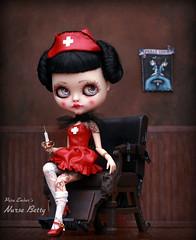 Nurse Betty (pure_embers) Tags: pure embers blythe doll dolls laura england uk custom cocomicchi nurse betty embersnursebetty takara neo latex red syringe girl photography pinup goth fetish character