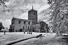 Solid (David Feuerhelm) Tags: blackandwhite monochrome noiretblanc schwarzundweiss bw contrast building church old history historic tower windows churchyard gravestones grass trees infrared ir wideangle cambridgeshire foxton stlawrence nikon d90 sigma1020mm england