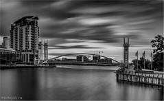 The Lowry Bridge (Fermat48) Tags: salfordquays mediacity lowery bridge manchester shipcanal dusk sunset le longexposure canon eos 7dmarkii ef24105mmf4lisusm blackandwhite monochrome bw bandw blackwhite leefilters bigstopper ndfilters