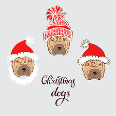 Shar Pei. Vector set of  dog's face in Santa's hat. Three hand-drawn isolated  elements on a gray background.  Dog - animal symbol of new year 2018. (everythingisfivedollar) Tags: sharpei santaclaus hat holiday dog face drawing animal brown white gray wrinkles doggy illustration funny puppy isolated greetingcard humorous sketch canine purebred handdrawn vector set element object red outline contour asian celebrate tradition zodiac cartoon art decoration chinese card symbol calendar 2018 newyear santa beard mustache pug chihuahua