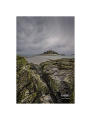 Cold day at Mounts Bay (silver/halide) Tags: stmichaelsmount marazion mountsbay rocks cold clouds lowtide johnbaker staubynestates southwestcoastalfootpath cornwall