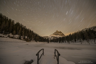 Star trails over Lago Antorno and Tre Cime