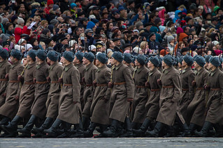 Honor parade on Moscow's Red Square, 7 November 2017