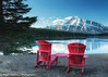 Two Red Chairs (ihoskins57) Tags: redchairs trees mountrundle twojacklake alberta mountains canada lake ©nigelhoskinsphotography sunrise improvementdistrictno9 ca