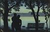 Sommermotiv tegnet av Thorolf Holmboe (National Library of Norway) Tags: nasjonalbiblioteket nationallibraryofnorway postkort postcards thorolfholmboe sommer summer romantikk romance silhuetter silhouette
