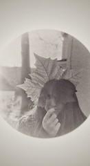 zoe leaf (Jen MacNeill) Tags: snapseed film microscope experimental alternative 35mm hopewellfurnace hopewellfurnacenationalhistoricsite old antiqued portrait daughter girl leaf sycamore
