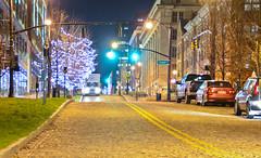 Front Street (brutus61534) Tags: columbus ohio night christmas lights street road cars signal