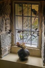 La ventana de la escalera (ninestad) Tags: ventana reja piedra interior decoración casa jarrón flores juncos madera teja gallega galicia aldea