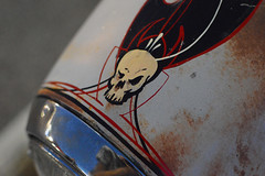 Death over the headlight (radargeek) Tags: fortsmith ar arkansas car painting pinstriping skull headlamp headlight