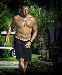 Jogging Man (LarryJay99 ) Tags: lakeworth carwindow canon60d male guy dude happyhappyshirtlesssundayhss belly briefban jagging city streets florida urban men man guys dudes navel face jag peekingpits shirtless peekingnipples briefs sweaty bellybutton legs eyes handsome jogging jogger runningman