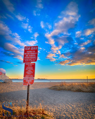 This red sign at Gulf Beach is hard to miss (Singing With Light) Tags: 2016 2017 26th alpha6500 ct duckpond february gulfbeach milford mirrorless singingwithlight a6500 beach downtown photography singingwithlightphotography sony sunrise winter
