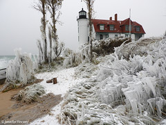 Betsie On Ice (JamesEyeViewPhotography) Tags: point betsie lighthouse winter storm ice sand beach water waves lake michigan greatlakes landscape northernmichigan trees sky clouds lakemichigan jameseyeviewphotography