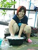 a woman's work is never done (the foreign photographer - ฝรั่งถ่) Tags: woman large thighs cellulite washing clothes soap suds sitting khlong thanon portraits bangkhen bangkok thailand canon