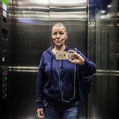 Lifted (Melissa Maples) Tags: istanbul turkey türkiye asia 土耳其 apple iphone iphone6 cameraphone kadıköy caferağa moda square 11 me melissa maples selfportrait woman brunette photographer mirror reflection shavedhead bald elevator lift